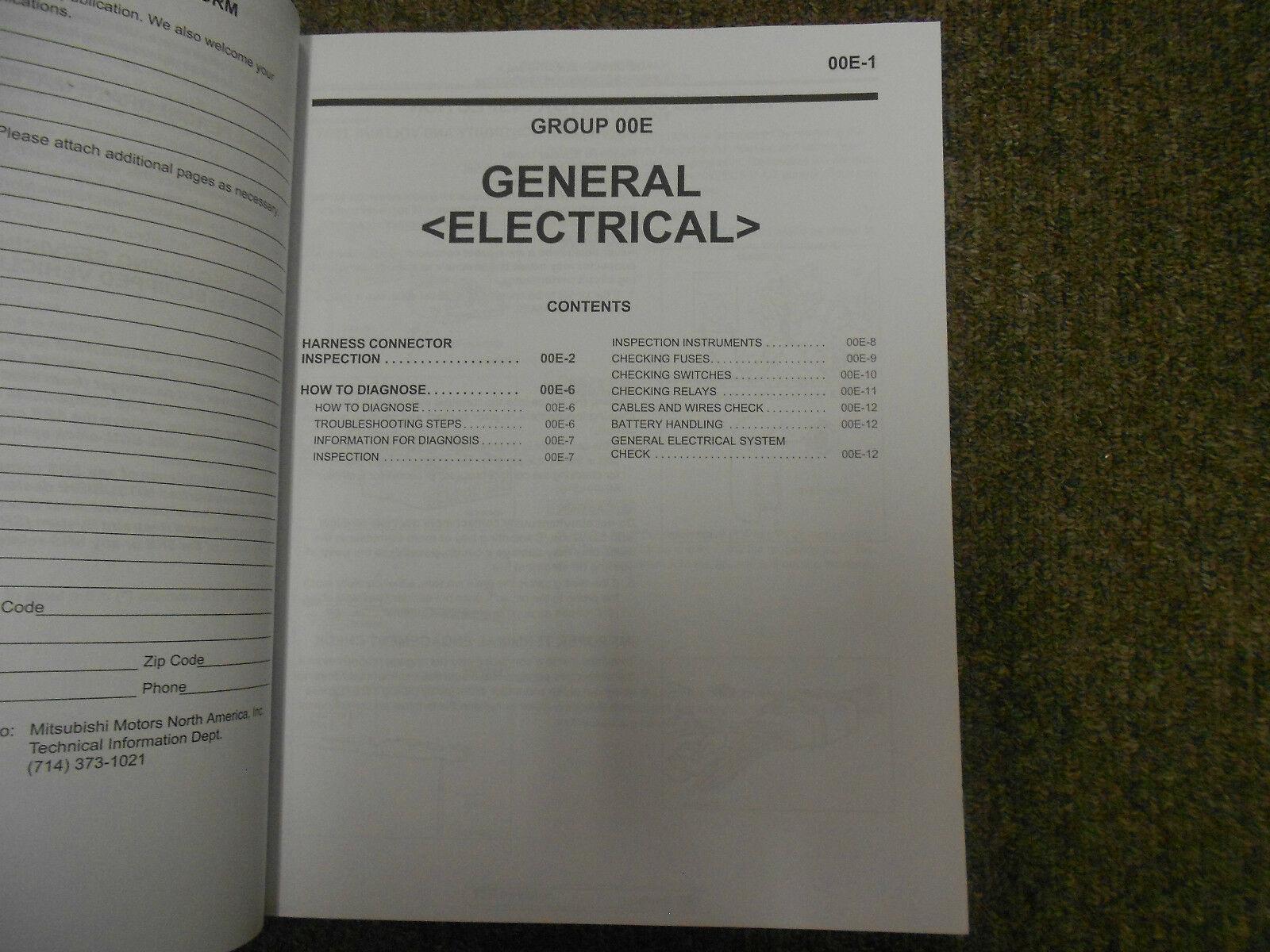 2010 MITSUBISHI Endeavor Electrical Supplement Service Repair Shop Manual FEO