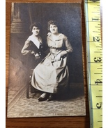 Photo Post Card Two Curly Haired Sisters Albumen Type Late 1800's-early ... - $6.00
