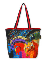 Laurel Burch Wild Horses Multi Colored Beach Bag Tote - $61.76 CAD