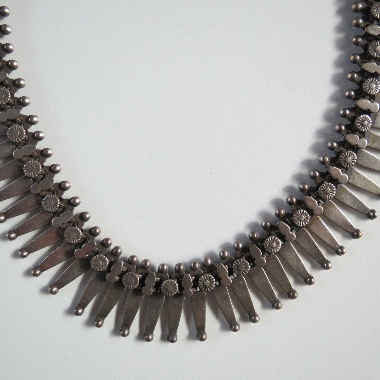"""Antique Victorian Rajasthani Rustic Necklace Sterling Silver 1880-19 16.5"""" India"""