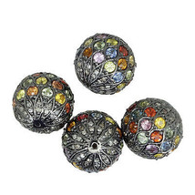 Sapphire Gemstone Disco Ball Sterling Silver Diamond Spacer Bead Jewelry... - $280.50