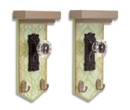 Melrose Pack of 2 Distressed Green Demask Wood Crystal Doorknob Wall Hoo... - $47.26