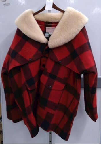 Vtg Filson Men Buffalo Plaid Wool Lined Shearling Jacket 50 Made USA Coat Packer