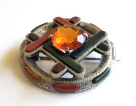 Antique Scottish Brooch, Engraved Silver, Bloodstone, Cornelion, Cairngo... - $520.00