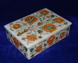 Marble Jewelry Trinket Box Jasper Inlaid Floral Pietra Dura Hakik Home Decor Art - $327.58