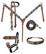 Western Horse 5pc Turquoise Beaded Leather Tack Set Headstall w/Breast Collar - $167.11