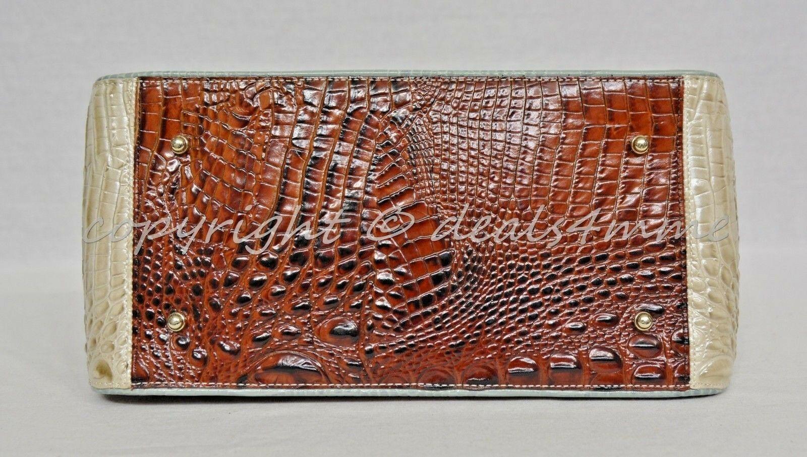 NWT Brahmin Hudson Satchel/Shoulder Bag in Linen Tri-Texture Beige, Pecan & Teal image 3