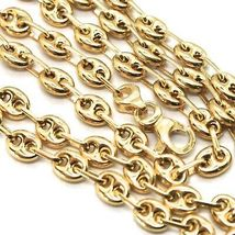 18K YELLOW GOLD BIG MARINER CHAIN 4 MM, 24 INCHES, ITALY MADE, ROUNDED NECKLACE image 3