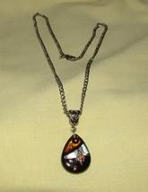 Black/Copper/Silver Tear Drop Pendant Necklace - $14.00