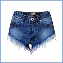 Cotton Blue Jean Denim Open Fly Hip Hot Pants Frayed Ripped Tasseled Shorts  image 5
