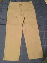 Boys Size 18 Husky George pants uniform khaki flat front button - $5.49