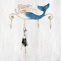 Tooarts Wall Mounted Key Holder Iron Mermaid Wall Decoration 4 Hooks for Coats T image 3