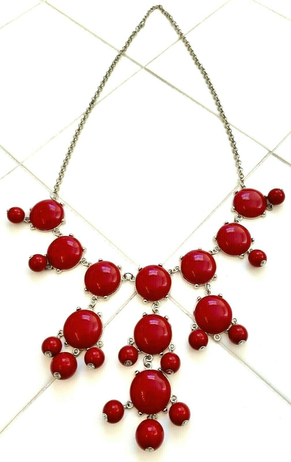 "BURGUNDY RED CLUSTER 29.5"" BEADED NECKLACE"