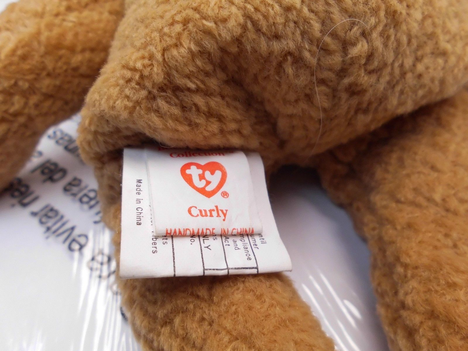 Rare Ty Beanie Babies Curly, Double Tush Tag and other errors image 2