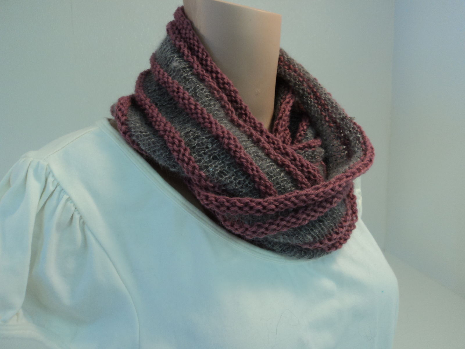 Handcrafted Wrap Cowl Gray Pink Sequins Merino Wool Mohair Female Striped