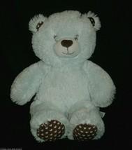 "16 ""building a bear baby boy blue brown hearts teddy bear stuffed animal - $18.50"