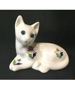 Ceramic Cat Sitting Blue Eyes Elpa Alcobaca Hand Painted Figurine Portugal - $21.99