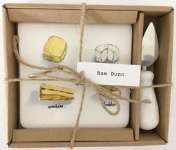 NEW in Box RAE DUNN Ceramic Cheese Board & Knife Set Modern Farmhouse De... - $28.70
