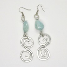 Earrings the Aluminium Long 9 cm with Aquamarine Rondelles and Spiral image 1