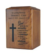 Large/Adult 250 Cubic Ins Cross & Serenity Prayer Wood Cremation Urn for... - $199.99