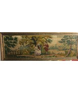 Antique Hand Woven Framed Tapestry of 2 Women and a Man with Guitar - $2,524.49