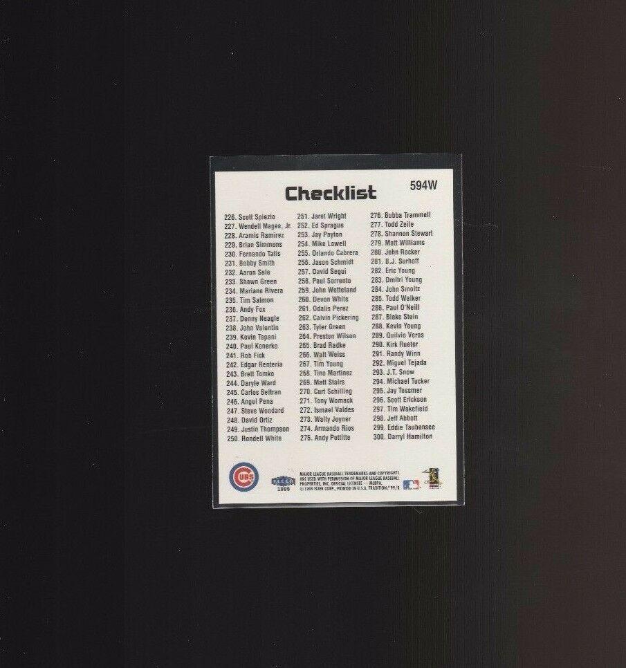 1999 Fleer Tradition Warning Track #594W Sammy Sosa Chicago Cubs