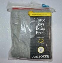 "Joe Boxer 3 Pairs Boy's Boxer Briefs Sz L 14 16 27-28"" Red Navy Grey Smi... - $5.94"