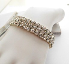 Retro Shimmering Clear Rhinestone Triple Row Stretch Bangle Bracelet N30 image 1