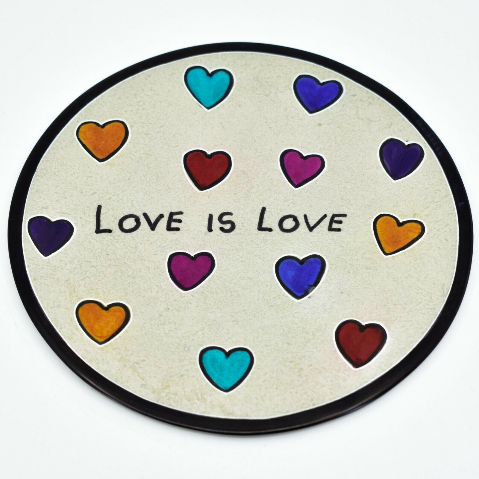 "Crafts Caravan Handmade Kisii Soapstone ""Love is Love"" Round Decorative Plate"