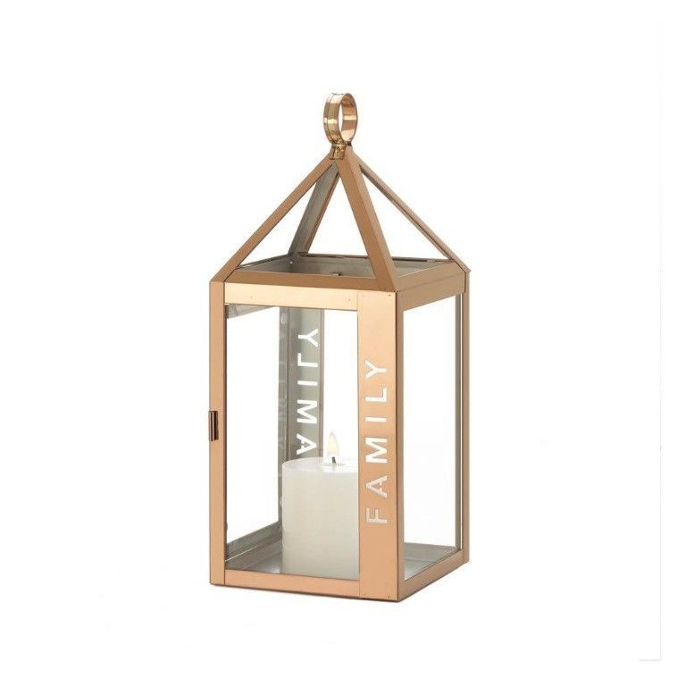 Rose Gold Stainless Steel Sleek Candle Lantern w/ Family Etched on Side