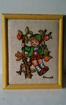 Vintage Crewel embroidered Hummel picture frame boy on tree large needle... - $18.76