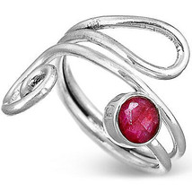 Solid 925 Sterling Silver Ruby Ring Gemstone Boho Adjustable Size 6 7 8 - $15.87