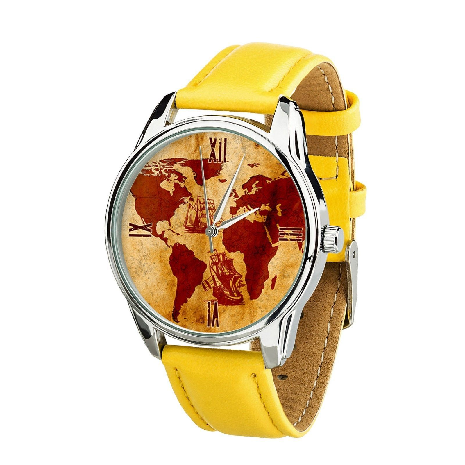 Old Vintage World Map Men Women wrist watch Birthday, Christmas Gift Japan Movt