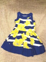 GYMBOREE Girls Blue & Yellow Floral Sleeveless Dress with Yellow Flowers... - $10.36