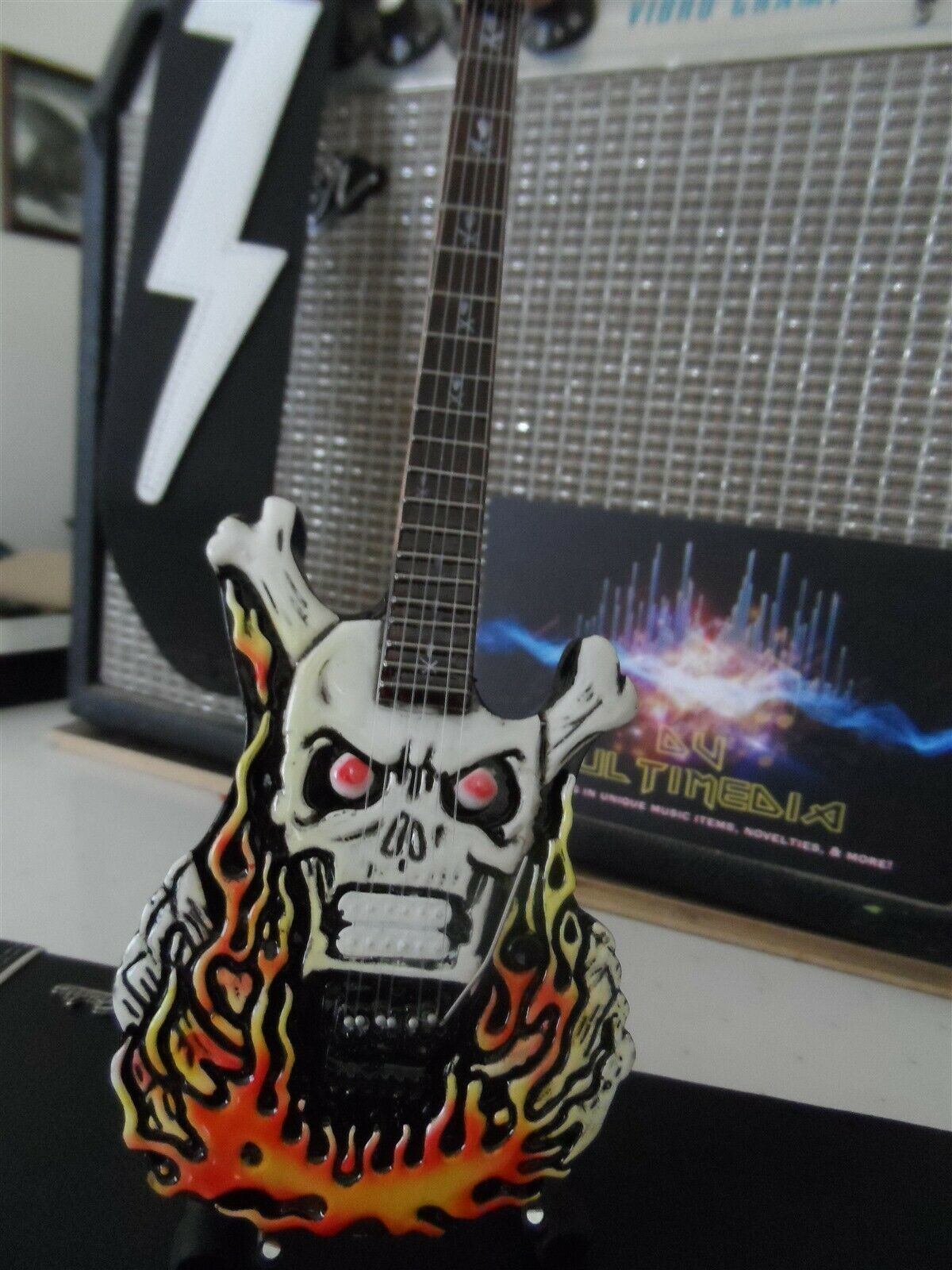 George Lynch - Esp Flaming Skull Custom 1:4 Scala Replica Chitarra ~ Nuovo ~ image 2