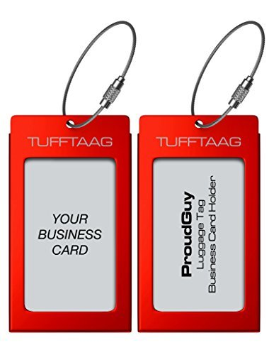 Luggage Tags Business Card Holder TUFFTAAG PAIR Travel ID Bag Tag - Scarlet