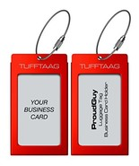 Luggage Tags Business Card Holder TUFFTAAG PAIR Travel ID Bag Tag - Scarlet - $15.09
