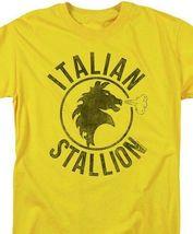 Rocky Italian Stallion T-shirt logo yellow 1980s retro movie cotton tee MGM209 image 3
