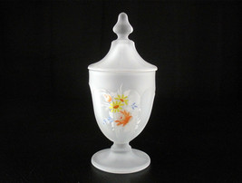 Westmoreland Crystal Mist Colonial Flower Bouquet Covered Candy Jar Vntg Satin - $26.21