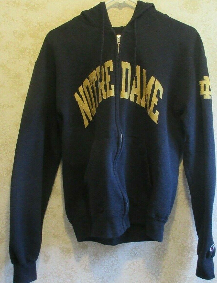 VTG 90s Champion Notre Dame Fighting Irish Hoodie Zip Sweatshirt S Small