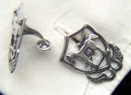10th Special Forces 1950's beret badge Sterling Silver Cuff Links     - $60.00