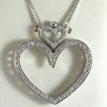 SOLID 18K WHITE GOLD NECKLACE, DOUBLE BIG HEART DIAMONDS, DIAMOND MADE IN ITALY image 7