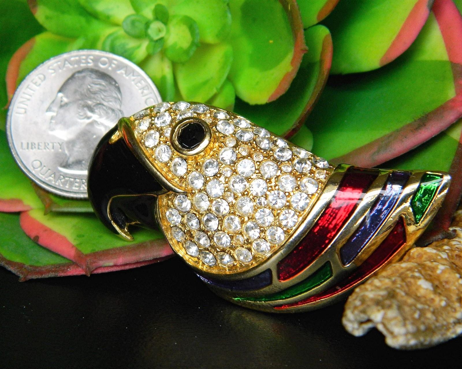 Vintage Parrot Bird Brooch Pin Rhinestones Enamel Colorful Figural
