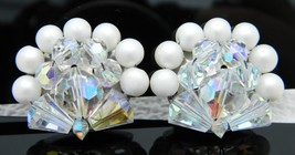 Clear AB Demi Parure Crystal Cluster Faux Pearl Clip Earrings Vintage - $19.80