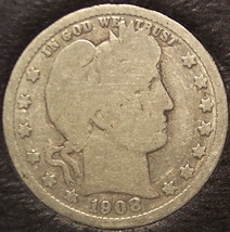 1908-D Barber Silver Quarter G4 #0249 - $7.19