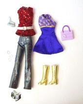 13 Pc Barbie Clothes, Purses, Shoes, Boots, Bracelets Dess Pants Tops - $10.88