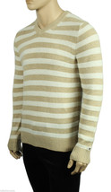 NEW MENS TOMMY HILFIGER V NECK STRIPED COTTON LINEN PULLOVER SWEATER $89 - $27.99