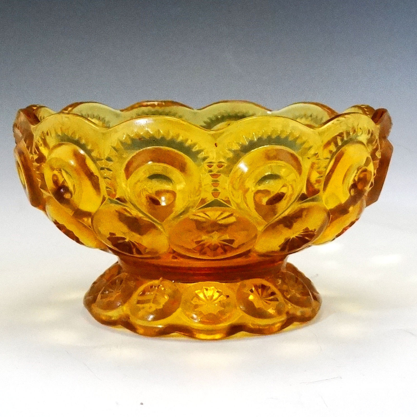 L E Smith MOON and STARS Amber 4 1/2 inch Bowl