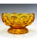 L E Smith MOON and STARS Amber 4 1/2 inch Bowl - $8.79