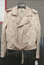 Anne Klein Size 8 Womens Beige Jacquard Camouflage Motorcycle Jacket Coat $169